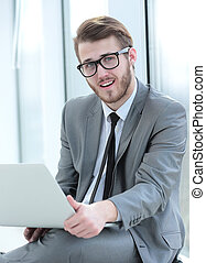 Handsome smiling confident business man portrait - Happy...
