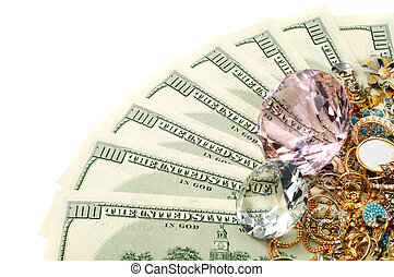 Gold and money - Dollars , jewelry and diamonds on white...