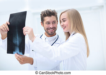 Closeup portrait of intellectual healthcare professionals with w