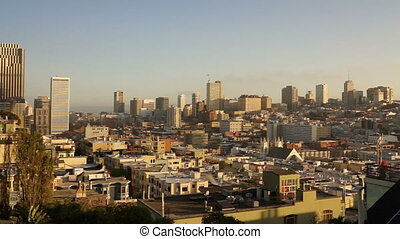 Over Neighborhood Homes Buildings San Francisco California -...