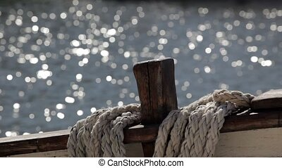 Ship - Ropes and tackle on an old sailing ship