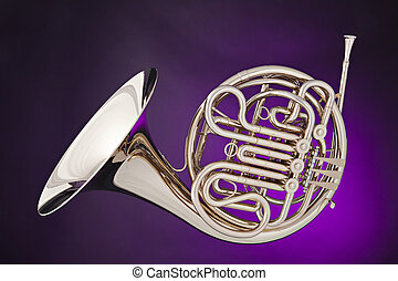 French Horn Isolated on Purple