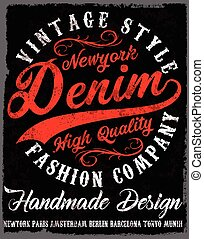 Typography vintage Denim brand logo print for t-shirt. Retro...