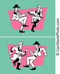 Country Dancers Vector Design. - Set of two illustrations of...