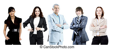 A team of businessmen led by an experienced leader.
