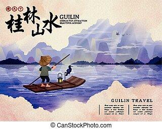 China Guilin travel illustration - China Guilin travel...