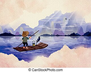 Asian travel poster with natural scenery, fisherman in...