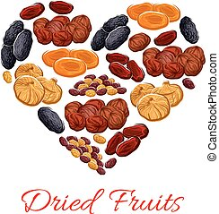 Heart of vector dried fruits snacks - Dried fruits heart...