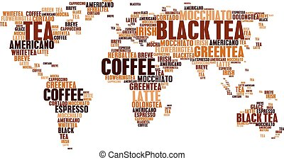 Cloud tags tea coffee hot drinks world map words - Coffee...