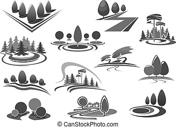 Gardening or green landscape design vector icons