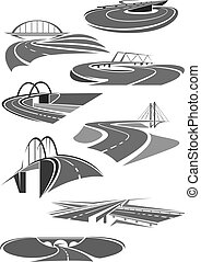 Vector icons of road tunnels and highway bridges - Road and...