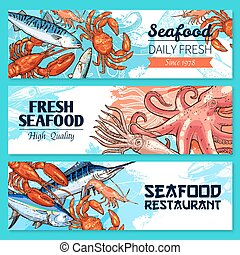 Seafood restaurant banners vector sketch set - Seafood and...