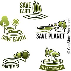 Vector icons for earth nature ecology environment