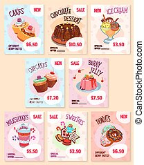 Bakery desserts price tags vector templates set - Price tags...