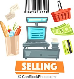 Shopping retail selling vector shop items icons - Shop...