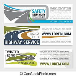 Vector banners of safety road construction company - Safety...