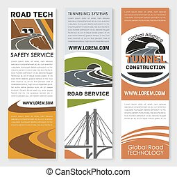 Vector banners of safety road construction service - Road...