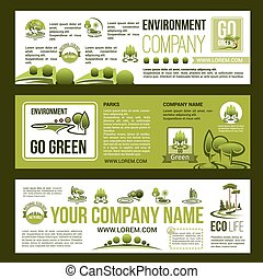 Green company vector business banners set