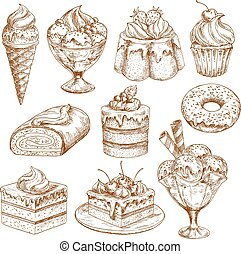 Bakery shop sketch icons of vector pastry desserts - Pastry...