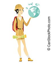 Asian traveler woman holding map and globe.
