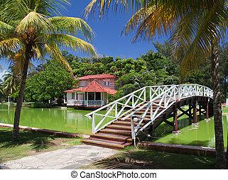 Foot-bridge in park Hesone, Varadero, Cuba