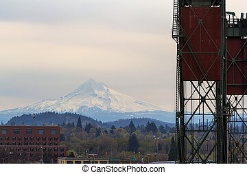 Mount Hood and Hawthorne Bridge Closeup