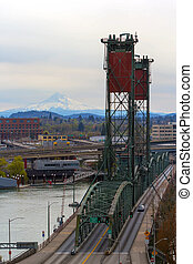 Hawthorne Bridge and Mount Hood View - Hawthorne Bridge over...