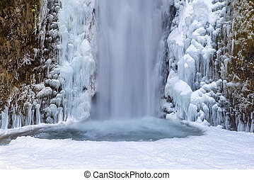 Frozen Multnomah Falls Closeup