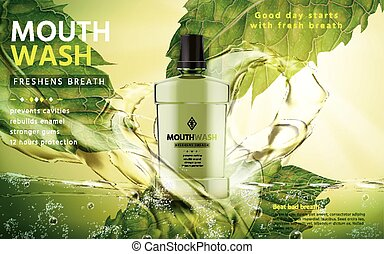 mouthwash product ad - mouthwash mint flavor, with green...