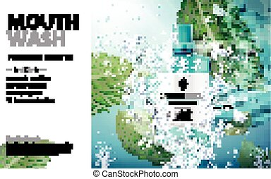 mouthwash product ad - mouthwash mint flavor, with water...