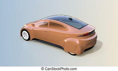 Champagne gold autonomous car on gradient background. 3D...