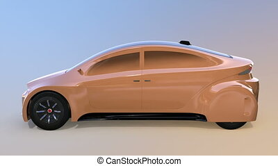 Champagne gold autonomous car on gradient background. 3D...