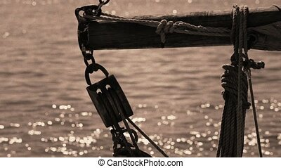 Ship - Ropes and tackle on an old sailing ship. Vintage...