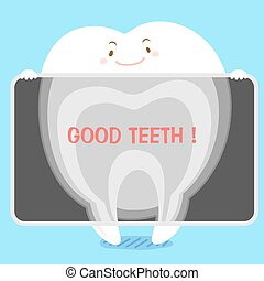 tooth with xray - cute cartoon tooth with xray on blue...