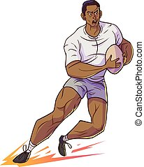 Rugby player hold rugby and running, Vector cartoon...