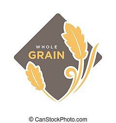Whole grain organic cereals logo wheat symbol isolated on white.
