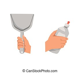 Hands holding shovel for cleaning and detergent in bottle -...