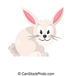 Cute pink rabbit isolated on white vector illustration -...