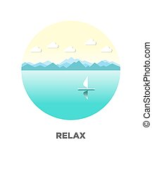 Relaxing landscape of river on isolated logotype on white