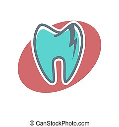 Dental logo on oval shape background. Dentistry icon,...