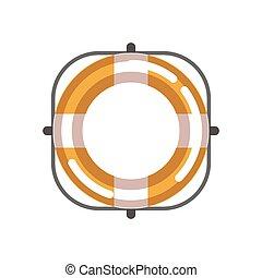 Lifebuoy isolated object on white vector flat illustration....