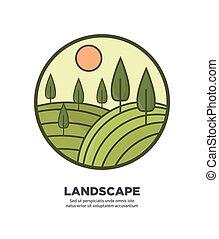 Landscape flat round logo icon isolated on white - Landscape...
