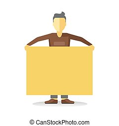 Striking man holding empty yellow banner isolated on white....