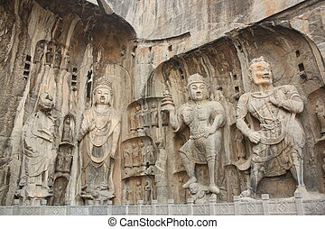 Longmen Caves in Luoyang - Longmen Grottoes with Buddha\'s...