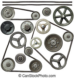 Pulleys - Old metal pulleys with belt.