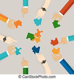 team work hand holding pieces of jigsaw puzzle try to solve problem together. business concept of synergy in flat illustration