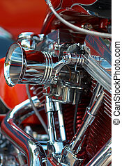 V-twin engine - Shiny v-twin motorbike engine of a...