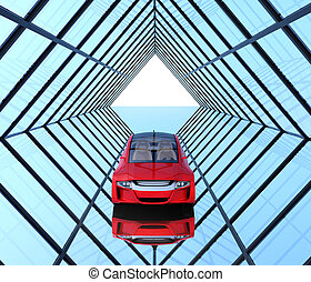 Metallic red car on triangulate shape background. 3D...