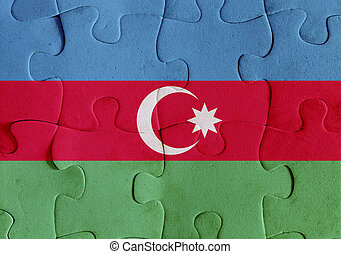 Azerbaijan flag puzzle - Illustration of a flag of...