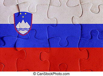 Republic of Slovenia flag puzzle - Illustration of a flag of...